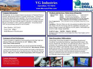 VG Industries Carrollton, TX 75010 MicronicFilter