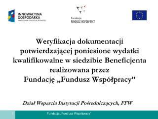 Dział Wsparcia Instytucji Pośredniczących, FFW