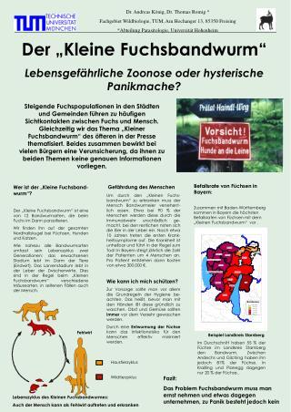 """Der """"Kleine Fuchsbandwurm"""" Lebensgefährliche Zoonose oder hysterische Panikmache?"""