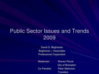 Public Sector Issues and Trends 2009
