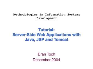 Tutorial:  Server-Side Web Applications with Java, JSP and Tomcat
