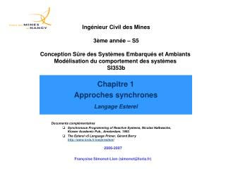 Chapitre 1 Approches synchrones Langage Esterel