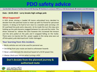 Date : 18.03.2013    Lorry breaks high voltage pole What happened?