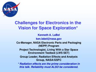 Challenges for Electronics in the Vision for Space Exploration