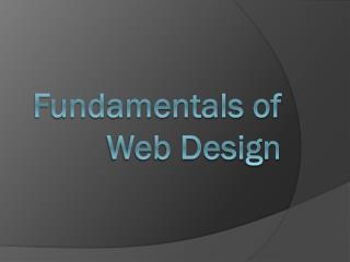 Fundamentals of Web Design