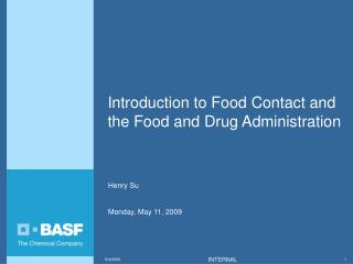 Introduction to Food Contact and the Food and Drug Administration