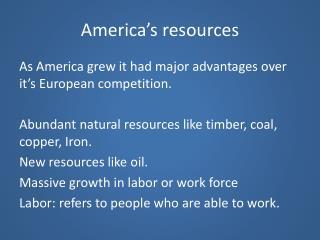 America�s resources