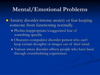 Mental/Emotional Problems