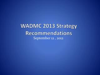 WADMC 2013 Strategy Recommendations