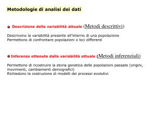 Metodologie di analisi dei dati