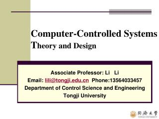 Computer-Controlled Systems   T heory and Design