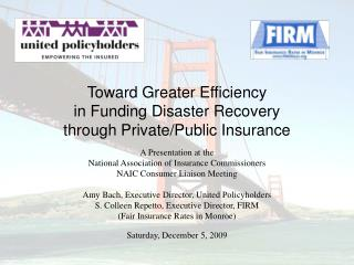 Toward Greater Efficiency in Funding Disaster Recovery  through Private/Public Insurance