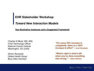 EHR Stakeholder Workshop: Toward New Interaction Models