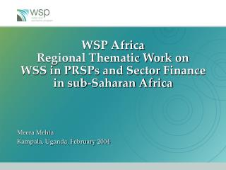 WSP Africa  Regional Thematic Work on  WSS in PRSPs and Sector Finance in sub-Saharan Africa