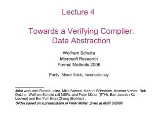 Lecture 4 Towards a Verifying Compiler:  Data Abstraction