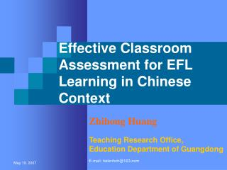 Effective Classroom  Assessment for EFL Learning in Chinese  Context