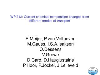 WP 312: Current chemical composition changes from different modes of transport