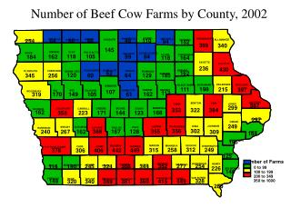 Number of Beef Cow Farms by County, 2002