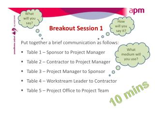 Breakout Session 1