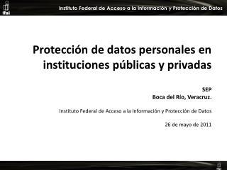 Protección de datos personales en instituciones públicas y privadas  SEP Boca del Río, Veracruz.