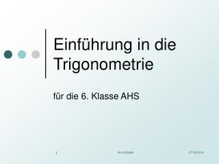 Einf�hrung in die Trigonometrie