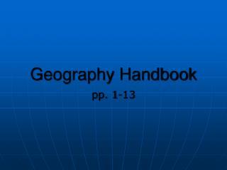 Geography Handbook