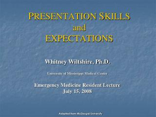 P RESENTATION  S KILLS  and EXPECTATIONS