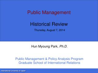 Public Management Historical Review Thursday, August 7, 2014