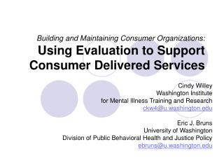 Cindy Willey Washington Institute for Mental Illness Training and Research ckw4@u.washington