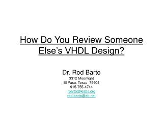 How Do You Review Someone Else s VHDL Design