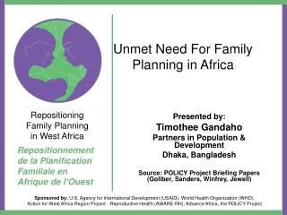 Unmet Need For Family Planning in Africa