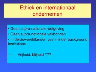 Ethiek en internationaal ondernemen