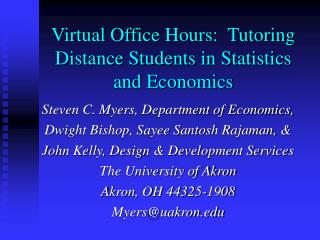 Virtual Office Hours:  Tutoring Distance Students in Statistics and Economics