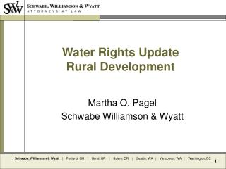 Water Rights Update Rural Development