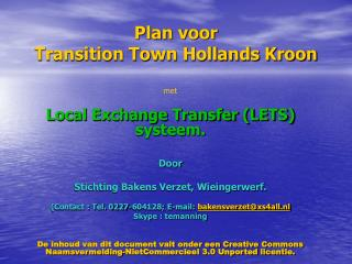 Plan voor Transition Town Hollands Kroon