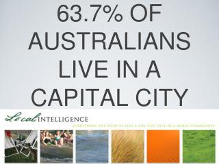 63.7% OF AUSTRALIANS  LIVE IN A CAPITAL CITY