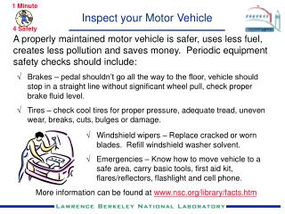 Inspect your  Motor  Vehicle