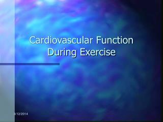 Cardiovascular Function During Exercise