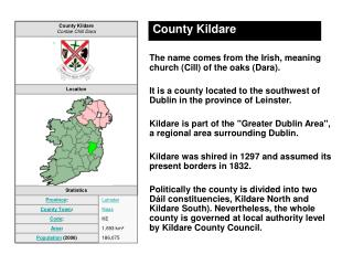 County Kildare The name comes from the Irish, meaning church (Cill) of the oaks (Dara).