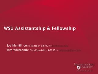 WSU Assistantship & Fellowship