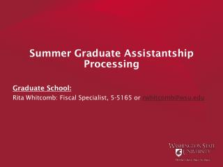 Summer Graduate Assistantship Processing