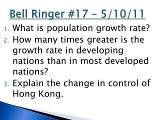 Bell Ringer #17 – 5/10/11