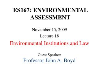 ES167: ENVIRONMENTAL ASSESSMENT