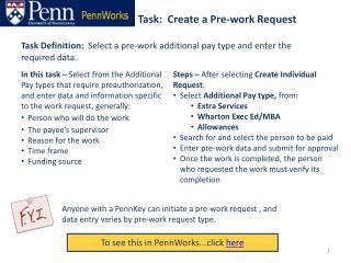 Task:  Create a Pre-work Request