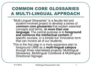 COMMON CORE GLOSSARIES A MULTI-LINGUAL APPROACH