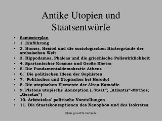 Antike Utopien und Staatsentw�rfe