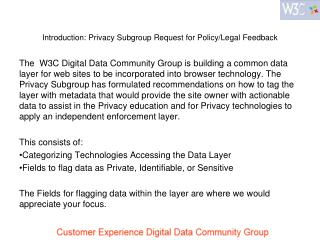 Introduction: Privacy Subgroup Request for Policy/Legal Feedback