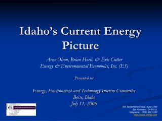 Idaho's Current Energy Picture