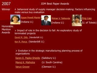 JOM Best Paper Awards
