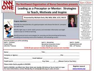 Leading as a Preceptor or Mentor:  Strategies to Teach, Motivate and Inspire